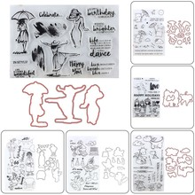1 Set Clear Stamps Cutting Dies Transparent Stamps + Metal Cutting Dies Stencils Scrapbooking Embossing for DIY Crafts
