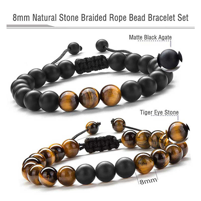 Mężczyźni 8mm tygrysie oko kamień bransoletka z koralików regulowana pleciona lina czarny matowy kamień naturalny joga bransoletka z koralików Pulseira Masculina