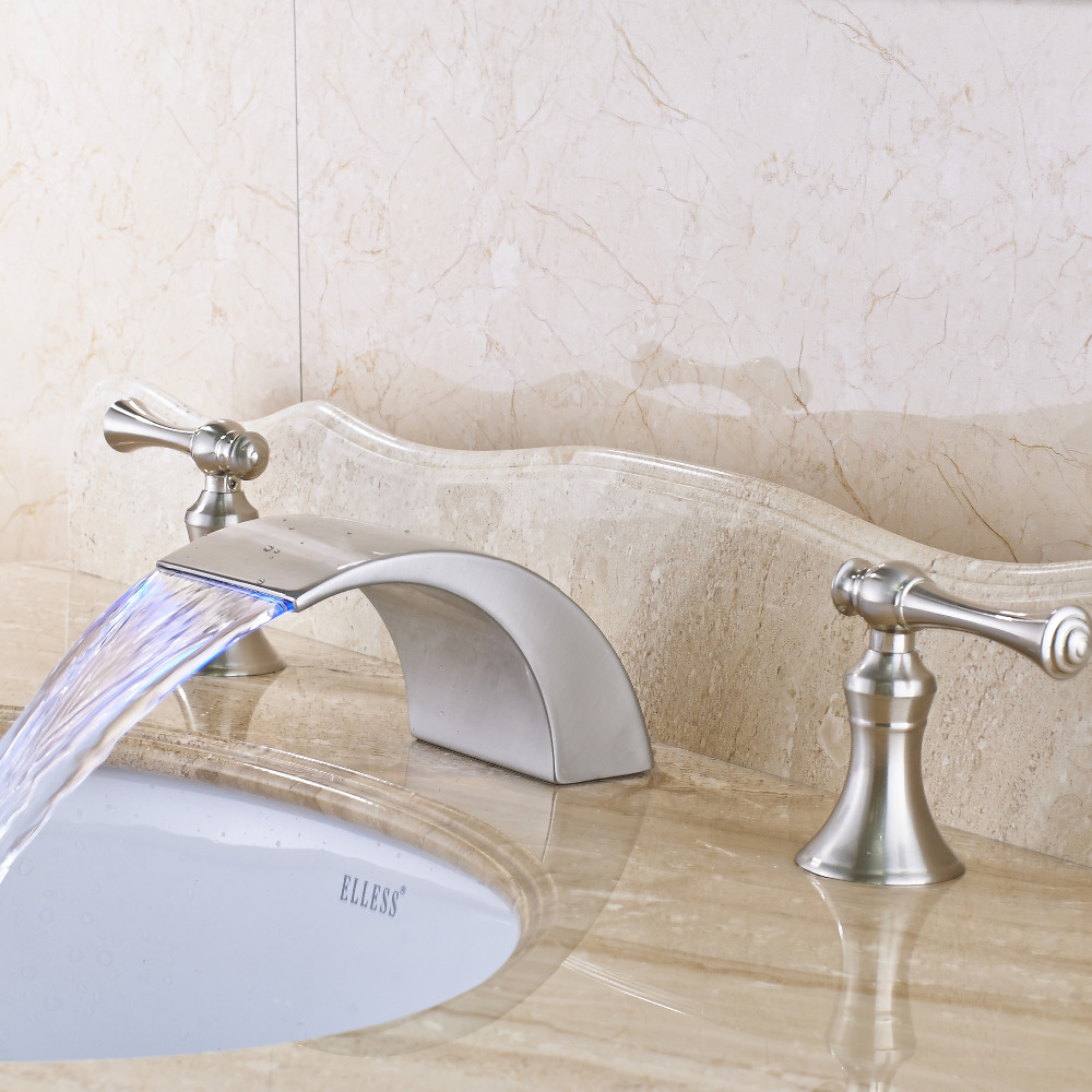Uythner Nickel Brushed Widespread Dual Handles Three Holes Bathroom Basin Faucet Mixer