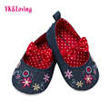 Flor Zapatos Del Bebé Recién Nacido primavera verano Rojo Suave Algodón de primera Polka Dot con arco de Navidad Del Niño Del Bebé walker Zapatos 1 Par