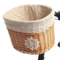 High Quality Light Brown Wicker Bike Bicycle Basket Cycling Front Basket Shopping Bag Bicycle Accessories 32cm