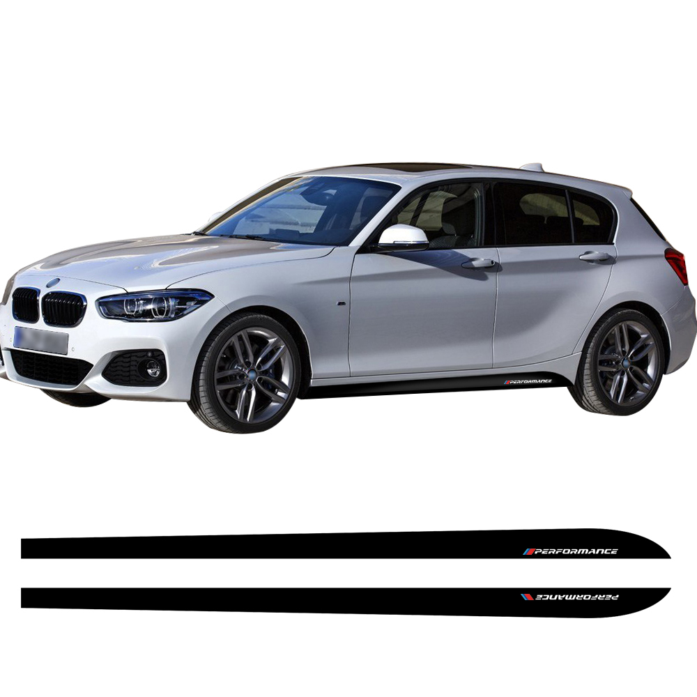 Door Side Stripe Skirt Car Sticker Decal New Style M Performance for BMW 1 Series F20 F21 118i 120i 125i 128i 135i Car Styling 2pcs new style m performance side skirt sill decal stripe vinyl sticker for bmw 4 series f32 f33 420i 428i 435i