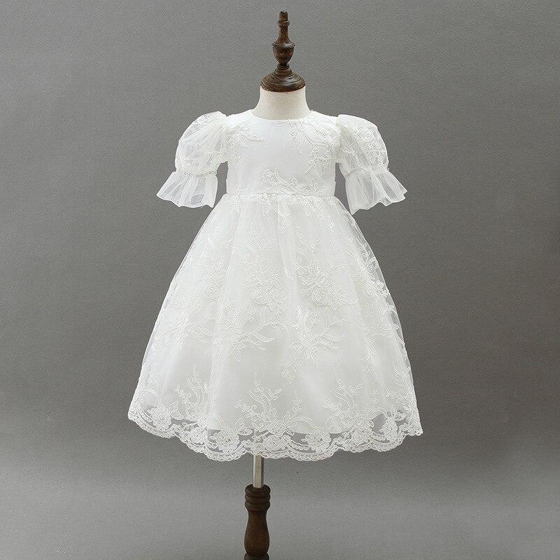 2018 blanc nouveau-né bébé filles baptême robe infantile bébé fille anniversaire Costumes mignon dentelle mariage long vêtements enfants princesse