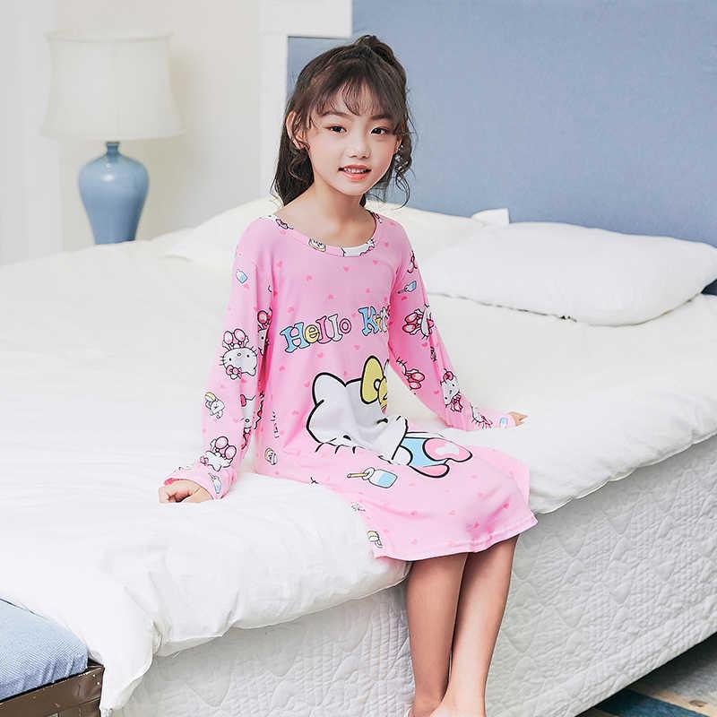 2018 для отдыха осенние пеньюар с длинными рукавами пижамы для детей, одежда для сна с героями мультфильмов; одежда для сна; платье для девочек-подростков рубашки HX1202