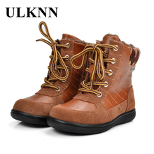 ULKNN Children Boots Winter Boys For Girls Kids Leather Genuine Fashion Retro Cotton Fabric Plush Fur Snow bota