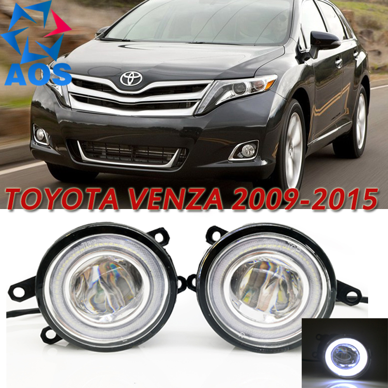 For Toyota Venza 2009-2015 Car Styling LED Angel eyes DRL LED Fog lights Car Daytime Running Lights auto fog lamp with bulbs set car fog lights lamp for mitsubishi triton 2 door 2009 on clear lens pair set wiring kit fog light set free shipping