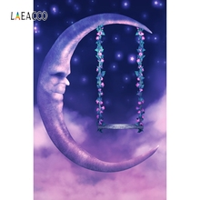 Laeacco Dreamy Moon Stars Backdrop Good Night Portrait Photography Background Customized Photographic Backdrops For Photo Studio