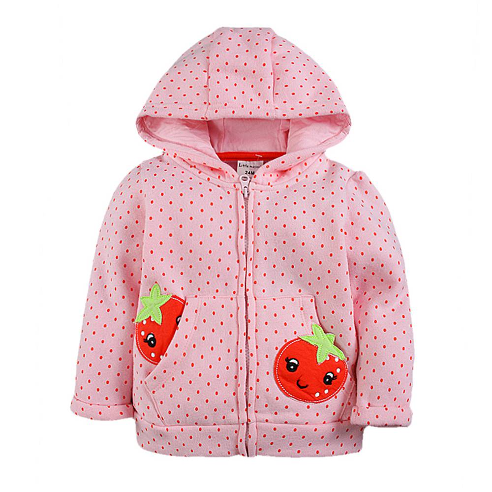 2-7T Girl Hoodie Winter 3D Embroidery Hoodie 2018 Girl Color Blocked Hooded Coat Thermal Hooded Sweatshirt Zip Up Hoodie Girl plaid insert side zip hooded tee