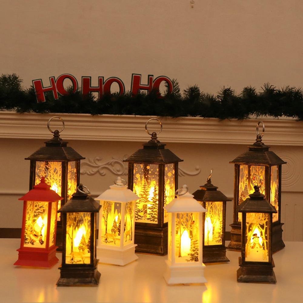 Светодиодная Рождественская свеча, LED чайный свет свечи клетки с держателем лось Санта Клаус Печать подсвечник для Рождественского украшения|Кулоны и подвески|   | АлиЭкспресс
