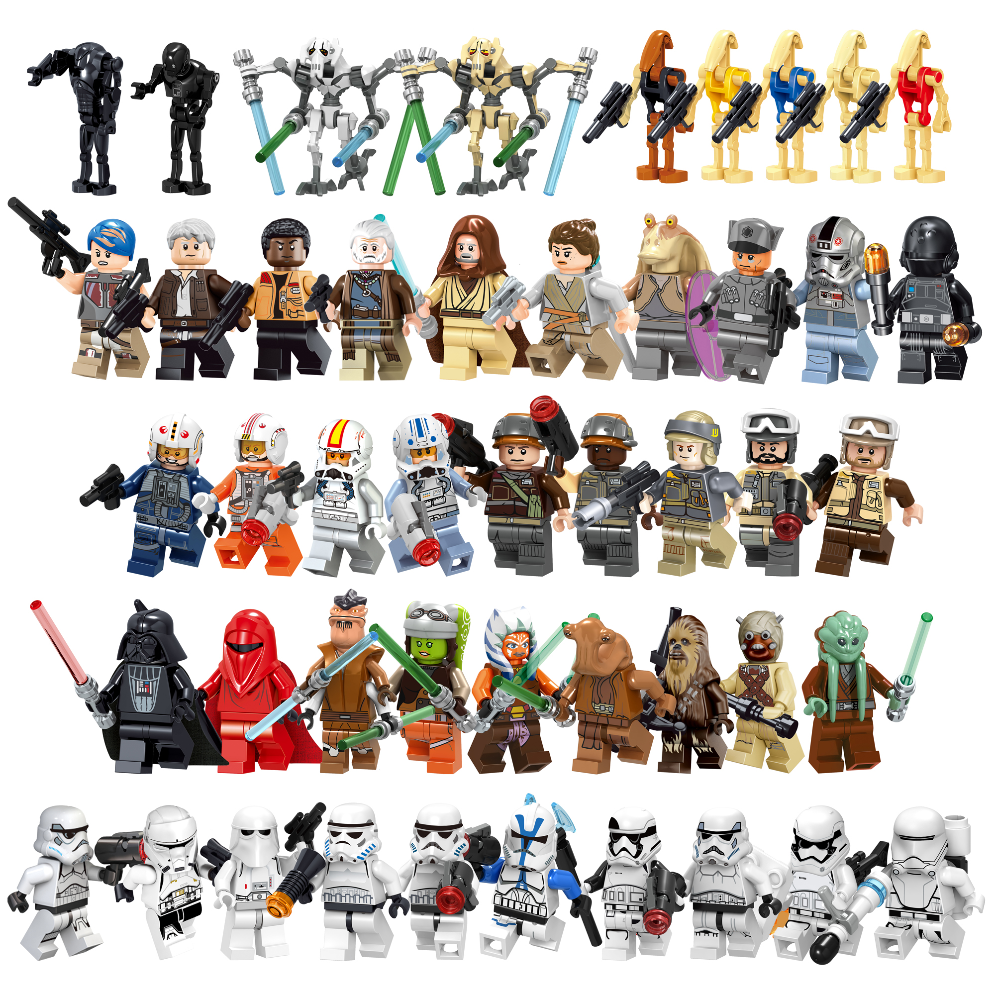 Movie Figures Luke Leia Trooper Han Solo Maz Anakin Darth Vader Yoda Obi Wan Weapon Figure Building Blocks Toys For Children