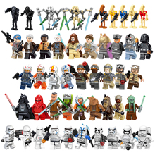 star wars Figures Luke Leia Trooper Han Solo Maz Anakin Darth Vader Yoda Obi Wan weapon Figure Building Blocks Toys for Children star wars jedi chewbacca building blocks han solo darth vader legoing figures jango fett obi wan models toys for children bk37