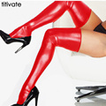 ENFEITAR New Hot Preto Vermelho Prata Womens Meias Preto Spandex Coxa Alta Latex Glam Gothic Rock Wetlook transporte da gota