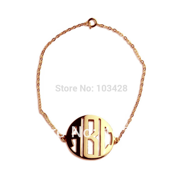 Personal monogrammed pendant 3 letters rose gold color plated block personal monogrammed pendant 3 letters rose gold color plated block monogram bracelet three initials monogrammed aloadofball Choice Image
