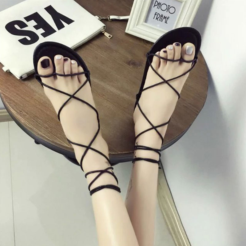 HTB1BEnpXEuF3KVjSZK9q6zVtXXaO Summer Women Gladiator Flat Heels Strappy Cross-tied Sandals Ladies Casual Solid Lace-Up Black Khaki Sandals Size 35-39