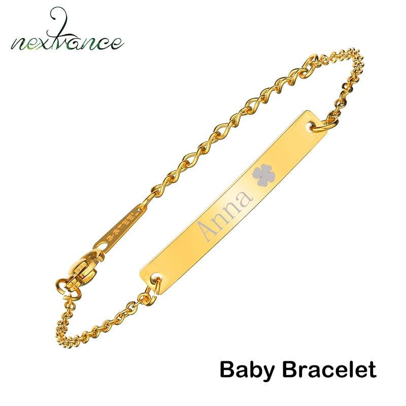 Nextvance Angepasst Gravur Typenschild Baby Junge Mädchen Armband Edelstahl Gold Kette Id Tag Armbänder Für Kind Geschenk