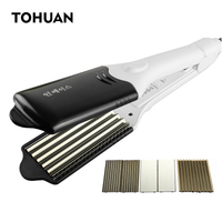 TOHUAN Hot 4 In 1 Hair Straightener Iron Electric Hair Crimper Wave Iron Changeable Plates Straight Hair Flat Iron Wave Curler