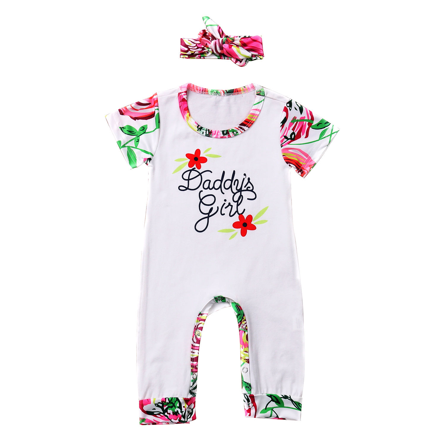 Adorable Baby Daddy Girl Baby Girls Jumpers Clothes Short Sleeve Floral Romper Playsuit Sleepsuit +Headband Outfits 0-24M