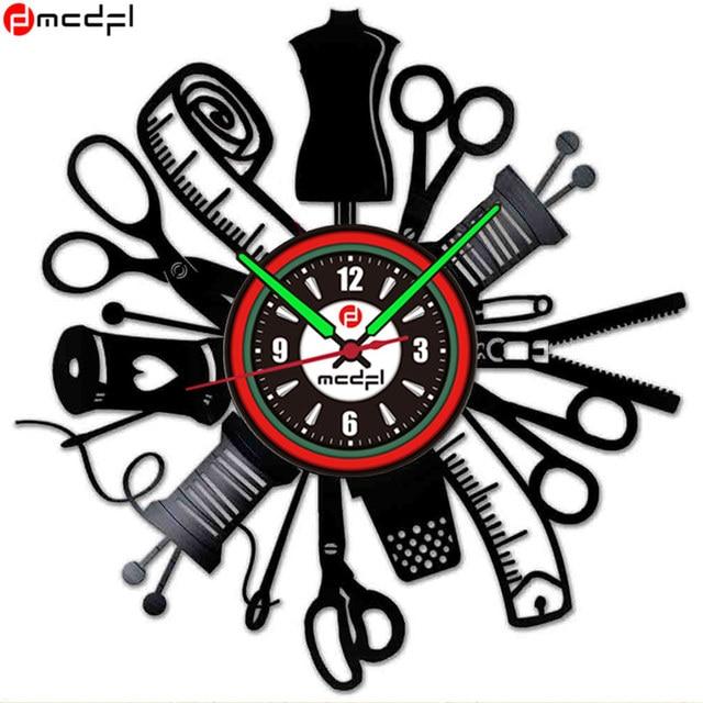 Home Decor Creative Sewing Machine Modern Design Black Vinyl Record Wall Clock Vintage Wall Sticker Duvar Saati
