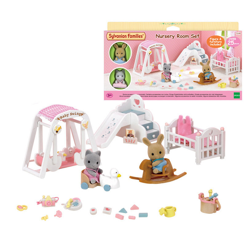 Sylvanian Families Dollhouse Furniture Accessories Nursery Room Playset w 2 Baby Figures Girl Kids Toy Gift