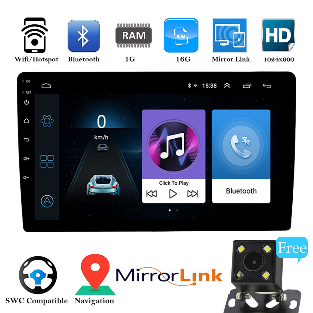 Android 8.1 Universal Car Radio GPS Navigation Bluetooth Touchscreen 10.1'' Audio Stereo Car Multimedia MP5 No DVD Player