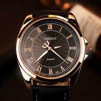 Reloj de pulsera YAZOLE 2019 para hombre, reloj de pulsera de cuarzo de lujo, reloj de pulsera de cuero de moda clásico para hombre