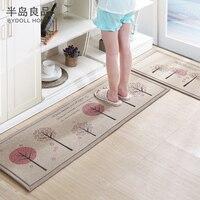 50X80 50X160CM Set Linen Kitchen Mat Home Entrance Hallway Doormat Anti Slip Bathroom Carpet Absorb Water