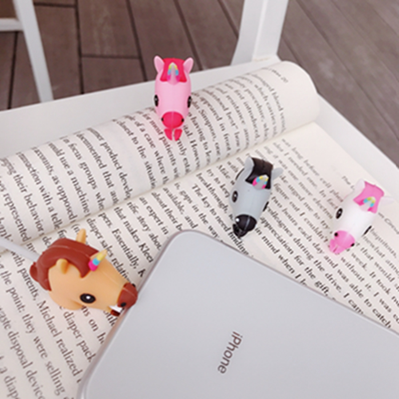 10pcs Cartoon Cute Unicorn Cable Phone Charger Cable Protector Cord Data Line Cover Decorate Smartphone Wire Accessories in Cable Winder from Consumer Electronics
