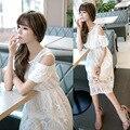De Las Mujeres del verano Maxi Largo de la Playa Vestidos de Encaje 2016 Corea Del Vendaje white dress vintage vestidos de fiesta más tamaño bata longue Femme