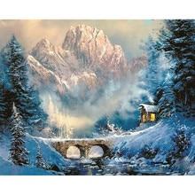 Bridge under the snow-cappe.40x50cm,Painting By Numbers,DIY,wall Art,Living Room Decoration,Scenery,Figure,Animal,Flower,Cartoon pactr1 under the bridge bk r pk