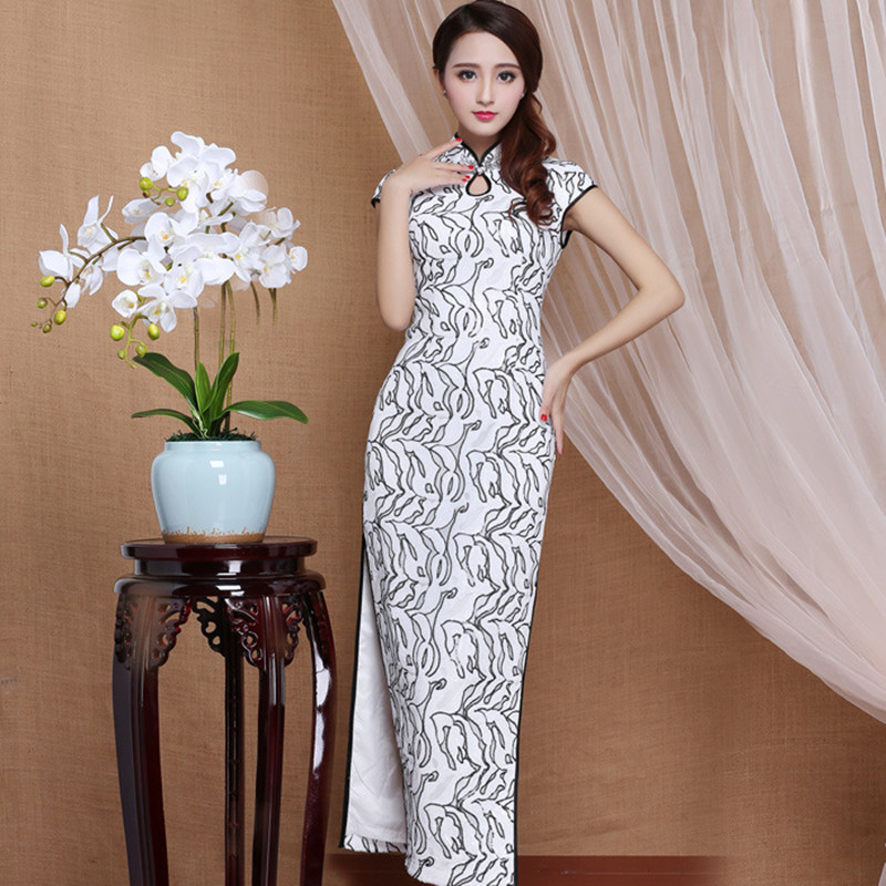 Cheongsam Chinese Traditional Sequins Stand Collar Short Sleeve Mesh Polyester Fiber Chinese Style Slim Cheongsam Long