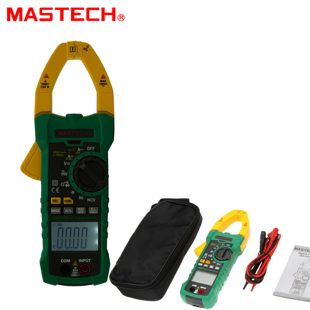 MASTECH MS2015A Auto Range 5999 counts Digital AC 1000A Current Clamp Meter True RMS Multimeter Frequency Capacitance Tester NCV original mastech smart smd tester capacitance meter multimeter ms8910 3000 counts lcd display auto scanning auto ranging