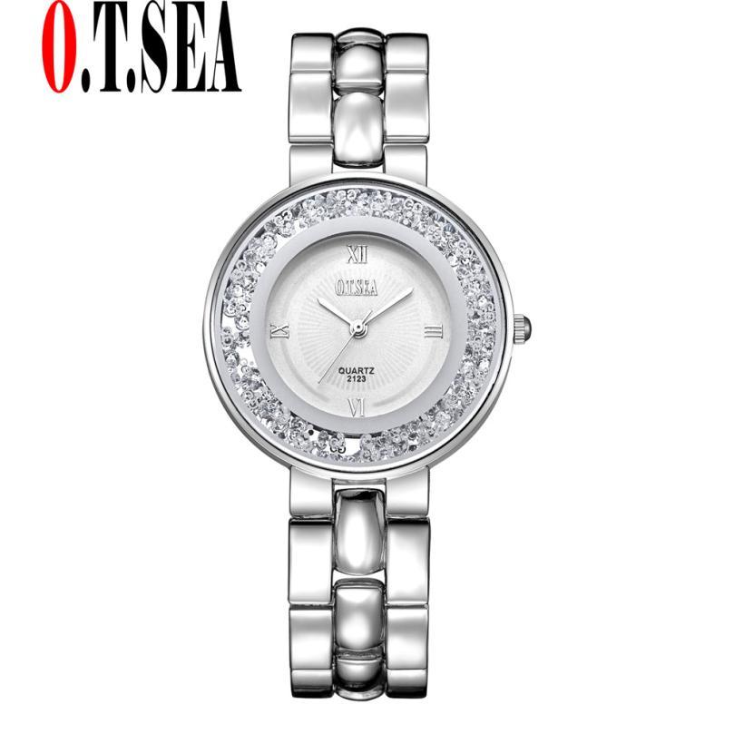 O.T.Sea Luxury Women's Bracelet Watch Jewelry Full Steel Strap Rhinestone Quartz Dress Watches Women Clock montre femme #17
