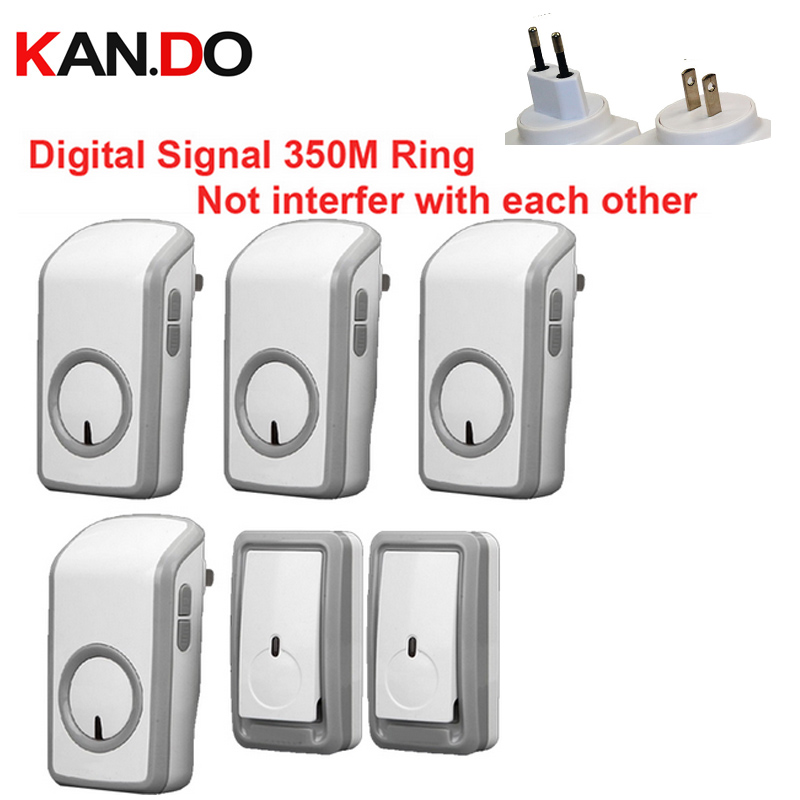 Euro/US plug bell 2 emitters+4 receiver wireless doorbell Waterproof 380 Meter door chime 48 melodies door ring digital signal new restaurant equipment wireless buzzer calling system 25pcs table bell with 4 waiter pager receiver
