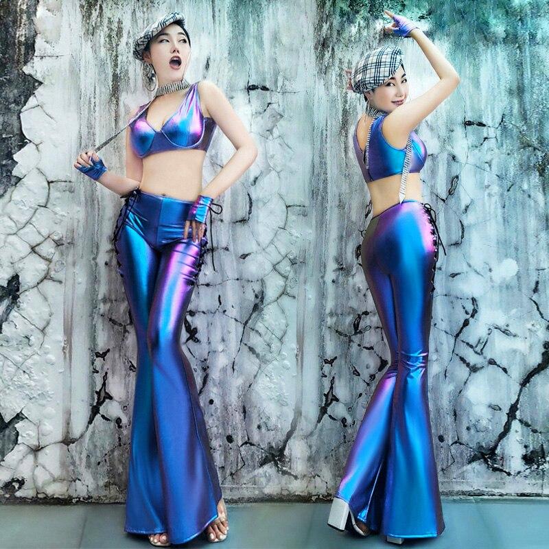 Женские Клубные сценический костюм Для женщин Комплект из 2 предметов леггинсы вечерние танца сексуальные брюки DJ певица наряд