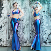 Female Nightclub Sexy Stage Costume Women 2 Pieces Set Leggings Party Dance Performance Sexy Pants DJ Singer Outfit