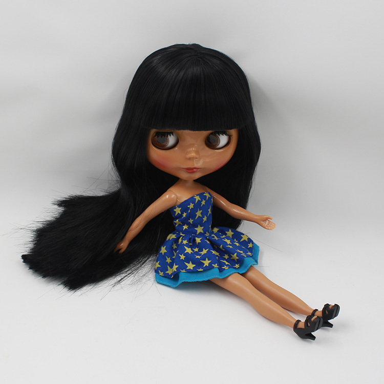 Free shipping Nude Doll For Series No.230KF9601 Black hair Black Skin Suitable For DIY Change BJD Toy For Girls все цены