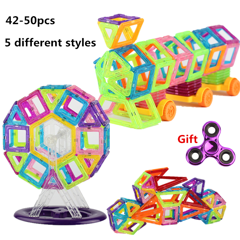 42-50 Pieces 5 Different Style Magnetic Building Blocks toy Mini Designer DIY Educational Construction Bricks Plastic Toys new big size 40 40cm blocks diy baseplate 50 50 dots diy small bricks building blocks base plate green grey blue
