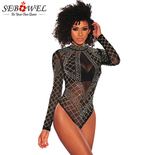 купить SEBOWEL Sexy Black Rhinestone Studded Mesh Bodysuit Women Mock Neck Sheer Mesh Jumpsuit Rompers Club See Through Body Suit 2019 дешево