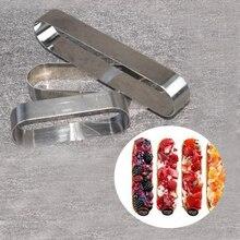 3 STÜCKE ein Los Mini Kleine 3 Größen Lange Oval form Edelstahl Metall Tiramisu Mousse Ring Form Schokolade Kuchen Mould