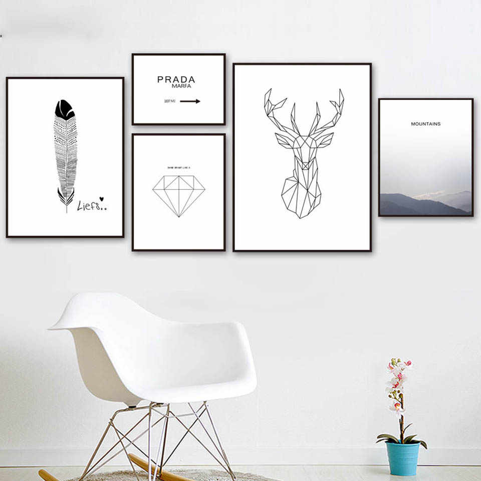 Home Decoration Prints Painting Geometry Diamond Feather Mountain Quotes Pictures Nordic Poster Wall Art Modular Canvas Hotel