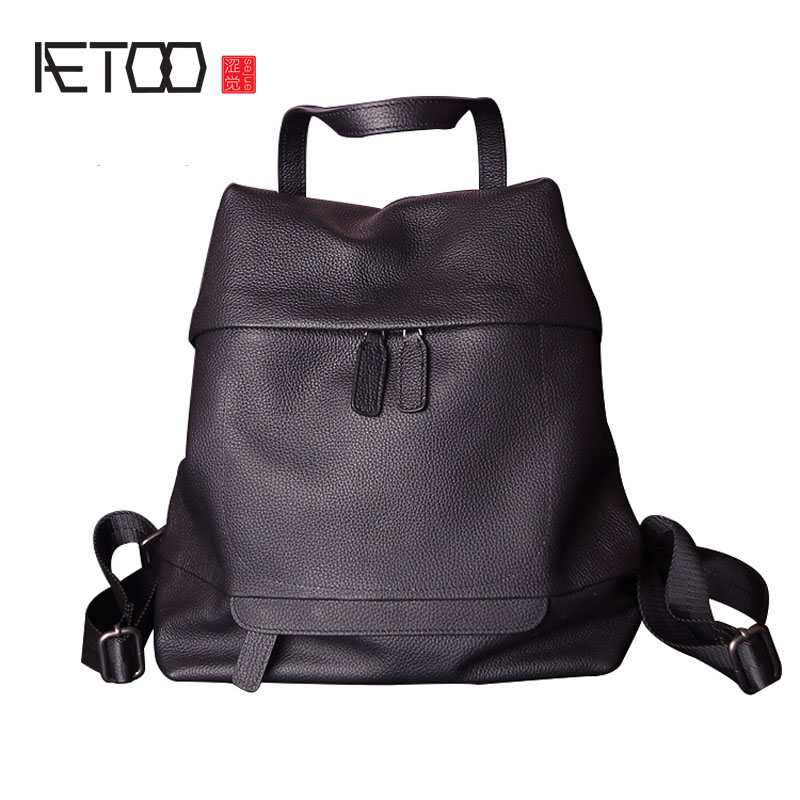 AETOO Leather large capacity soft leather shoulder bag female of the first layer of personalized backpack aetoo shoulder bag leather men bag trend first layer of leather large capacity new of the backpack bag
