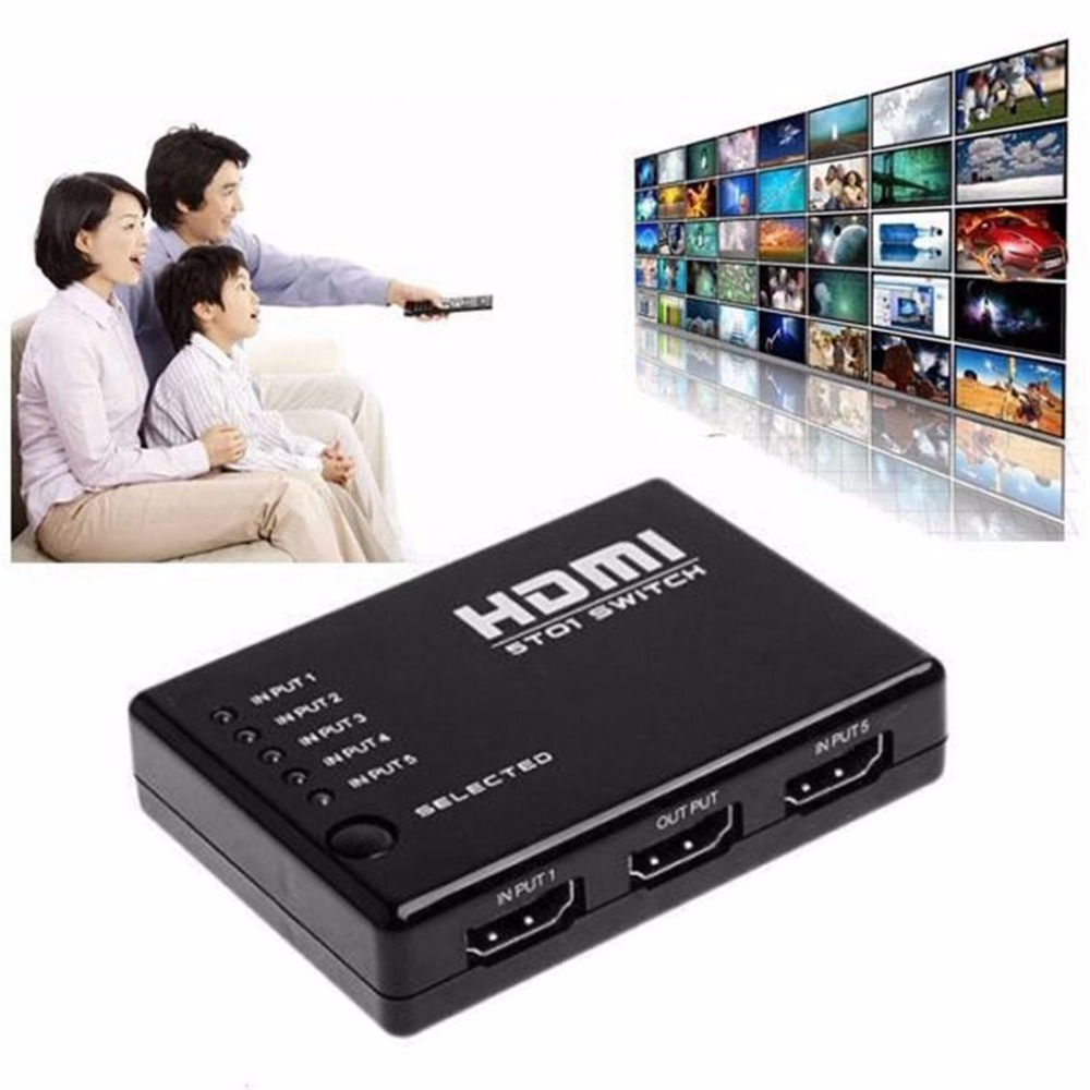 Portable 5 In 1 1.4 Version 1080P HDMI Switch Switcher HD Video Support HDMI Splitter With Remote Control