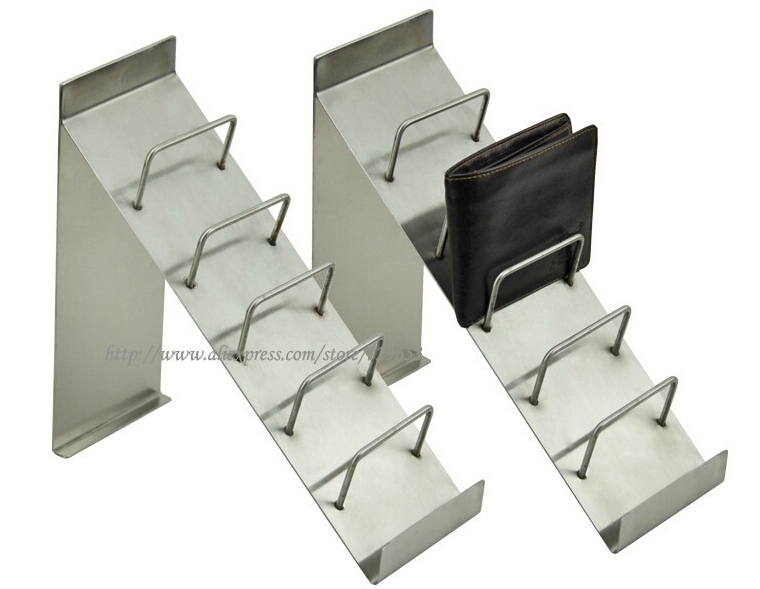 6 Tier Metal Wallet Display Rack Stainless Steel Purse Wallet
