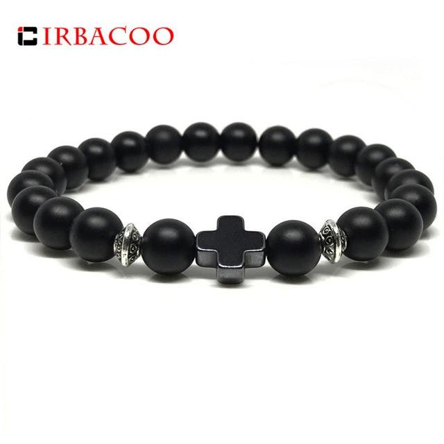 3a7be9bacc98 IRBACOO 2019 de los hombres de la nueva moda pulsera Cruz pulsera de encanto  con negro