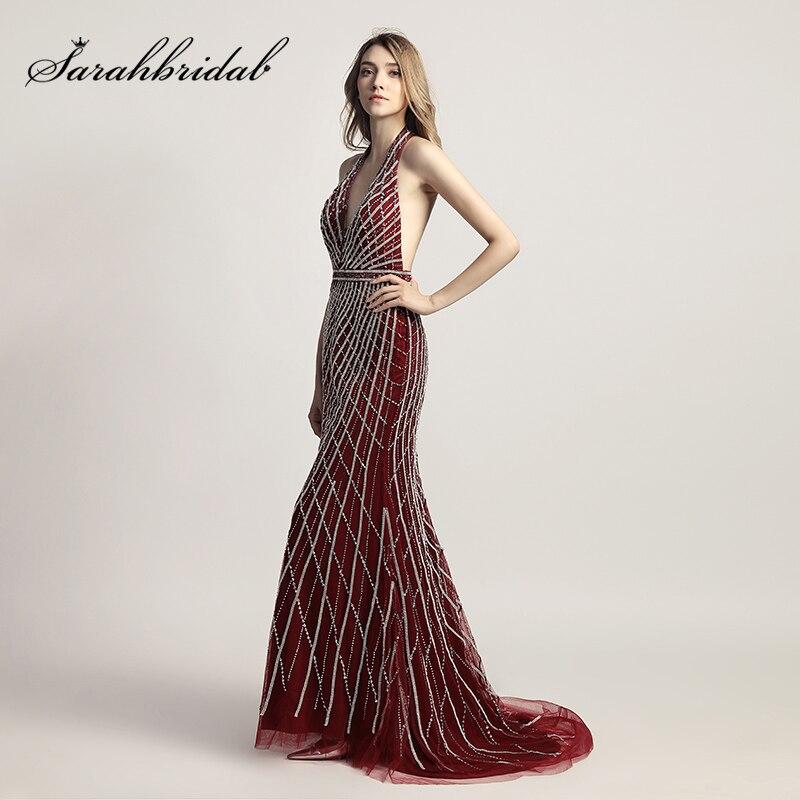 d39ad27cc0 Glitter Borgoña sirena cabestro Vestidos de noche con cuentas de cristal  largo tulle backless atractivo famoso partido de las mujeres lx422 en  Vestidos de ...