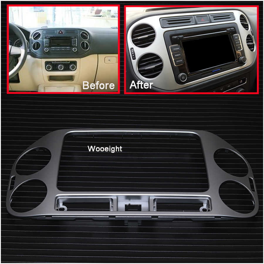 Wooeight 1 PC Mobil Central Dashboard Panel Navigasi Bingkai Udara Vent Outlet AC Trim Cover Styling untuk VW Tiguan 2013 2014 2015