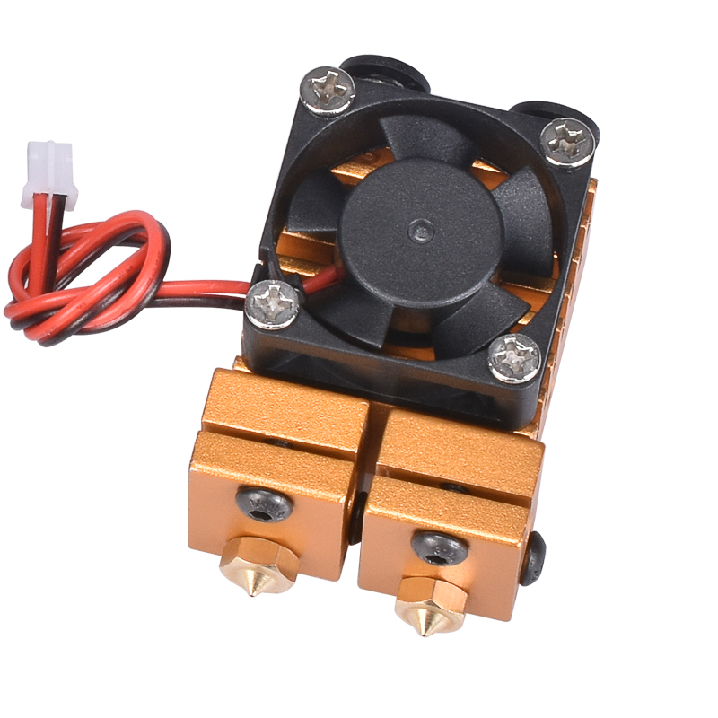 Chimera Extruder V6 Dual Nozzle 2 In 2 Out Double Head Print Hotend Kit 3D Printer Dual Extruder 1.75MM Filament 0.4MM Extrusion