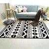 Fashion Black White Geometric Ethnic Hallway Living Room Bedroom Decorative Carpet Area Rug Floor Bathroom Foot