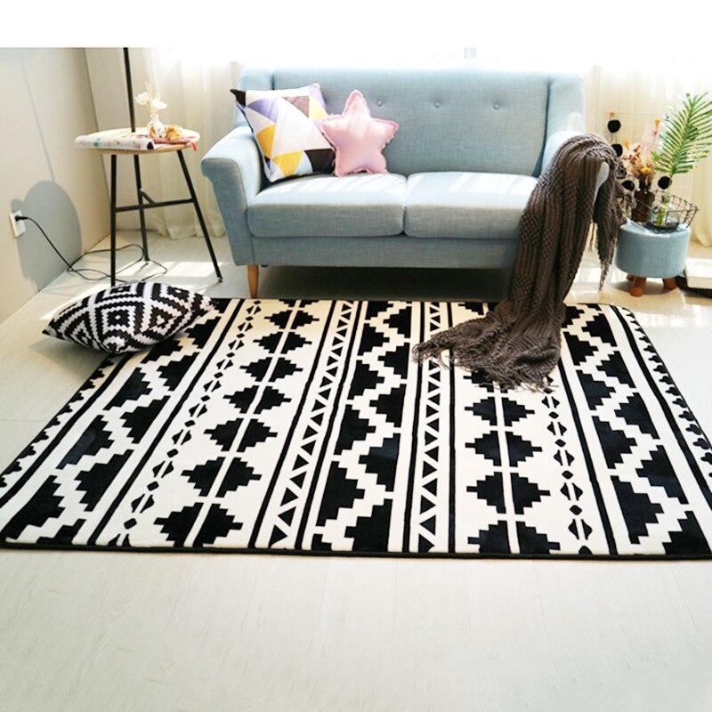 tapis de sol decoratif noir blanc couloir ethnique geometrique salon chambre a coucher tapis de sol tapis de jeu de yoga pied de la salle de
