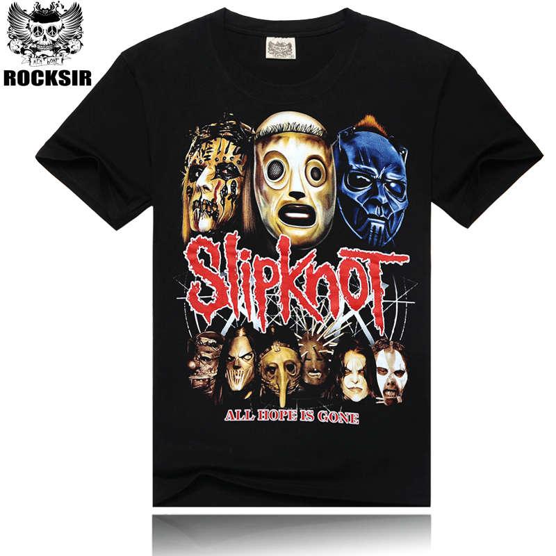 Mens Music Fashion Black Color 100% Cotton Slipknot T-Shirt Short Sleeve Slipknot Band Top Tees Shirt All Hope Is Gone
